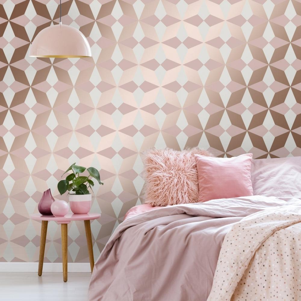 Fine Decor Nova Geometric Wallpaper Rose Gold Wallpaper From I