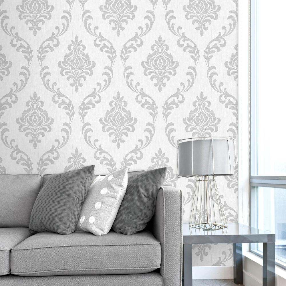 Torino Damask Wallpaper White Silver Fd40191