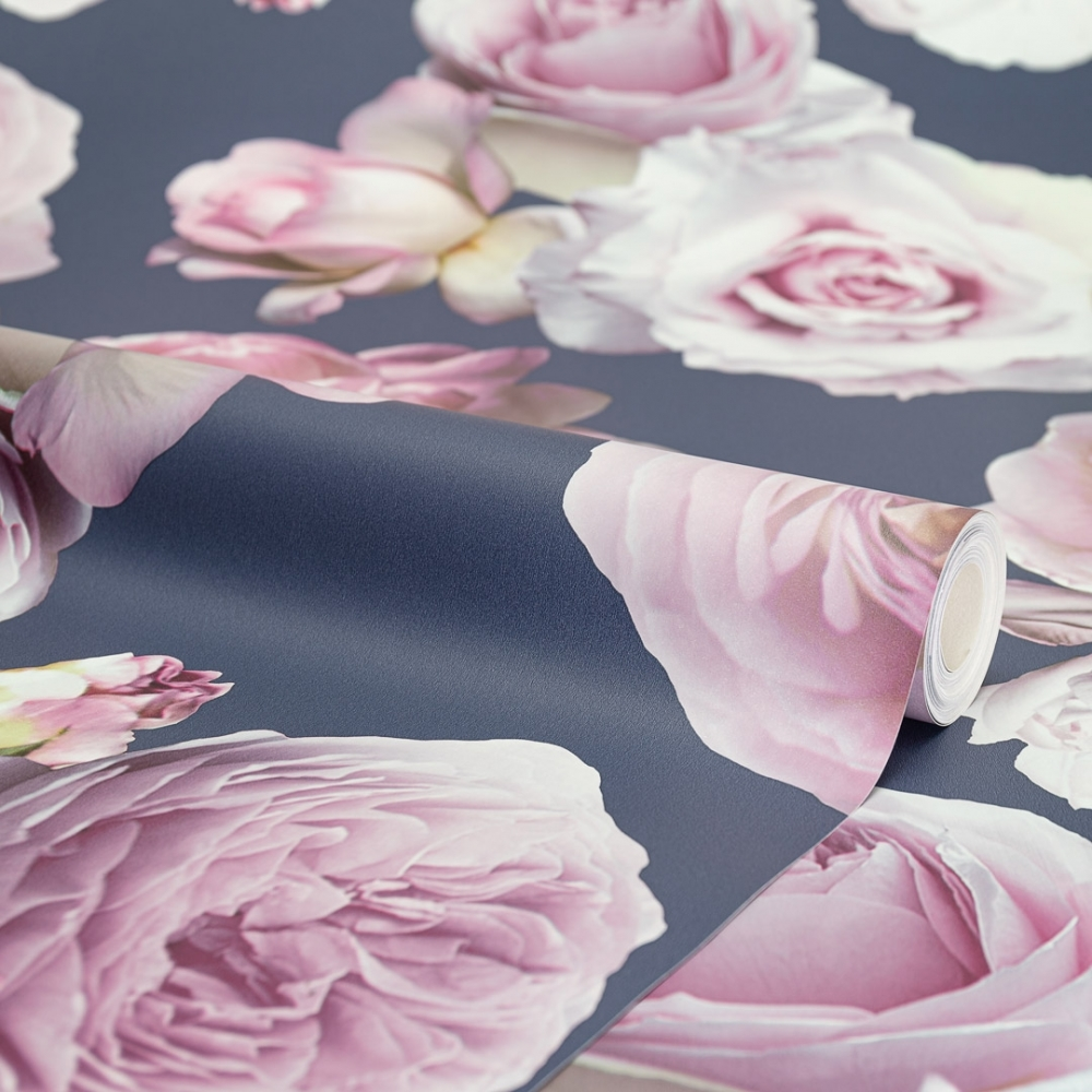 I Love Wallpaper Floral Bloom Rose Wallpaper Navy Pink