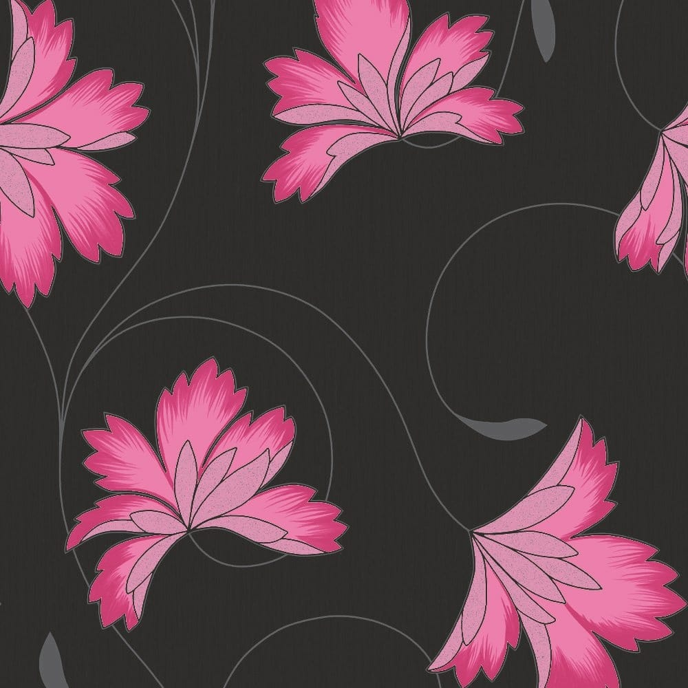 Buy Crown Flourish Wallpaper Hot Berry Pink Charcoal Black