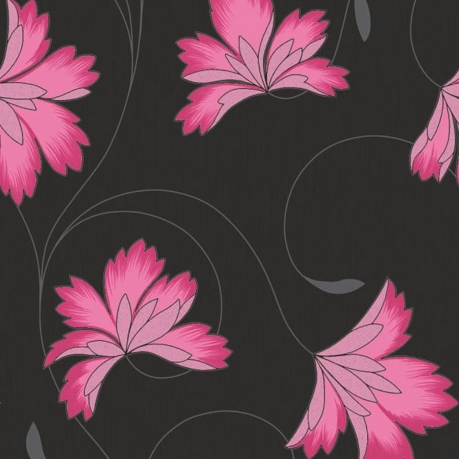 Crown Flourish Floral Wallpaper Hot Berry Pink, Charcoal Black (M0657)