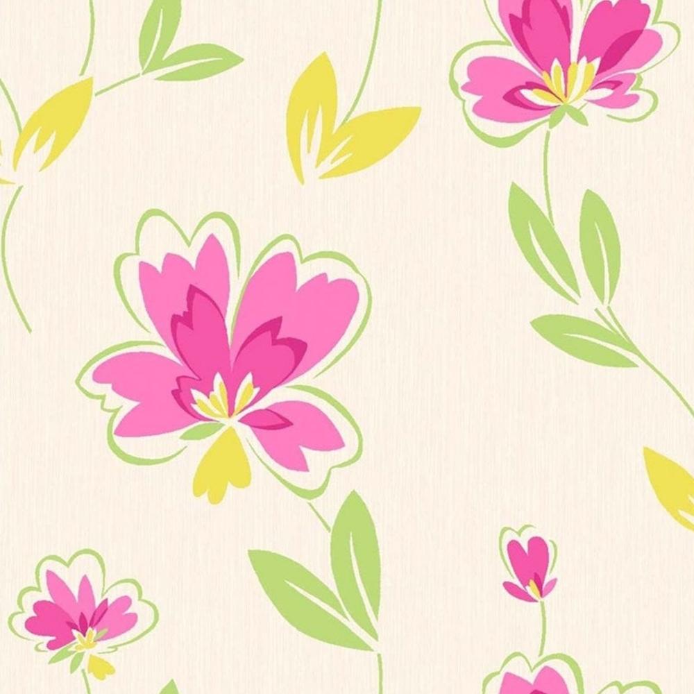 Crown Fresh Floral Wallpaper Pink Green Yellow M0777