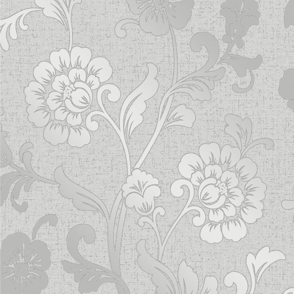 Glisten Floral Wallpaper Silver Ilw980085 Wallpaper From I