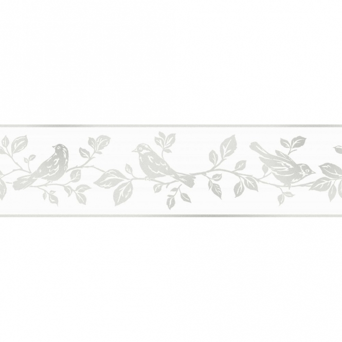 Fine Decor Glitz Leaf & Birds Glitter Wallpaper Border White / Silver (DLB50135)