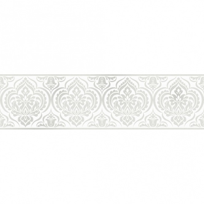 Fine Decor Glitz Ornamental Damask Glitter Wallpaper Border White / Silver (DLB50137)
