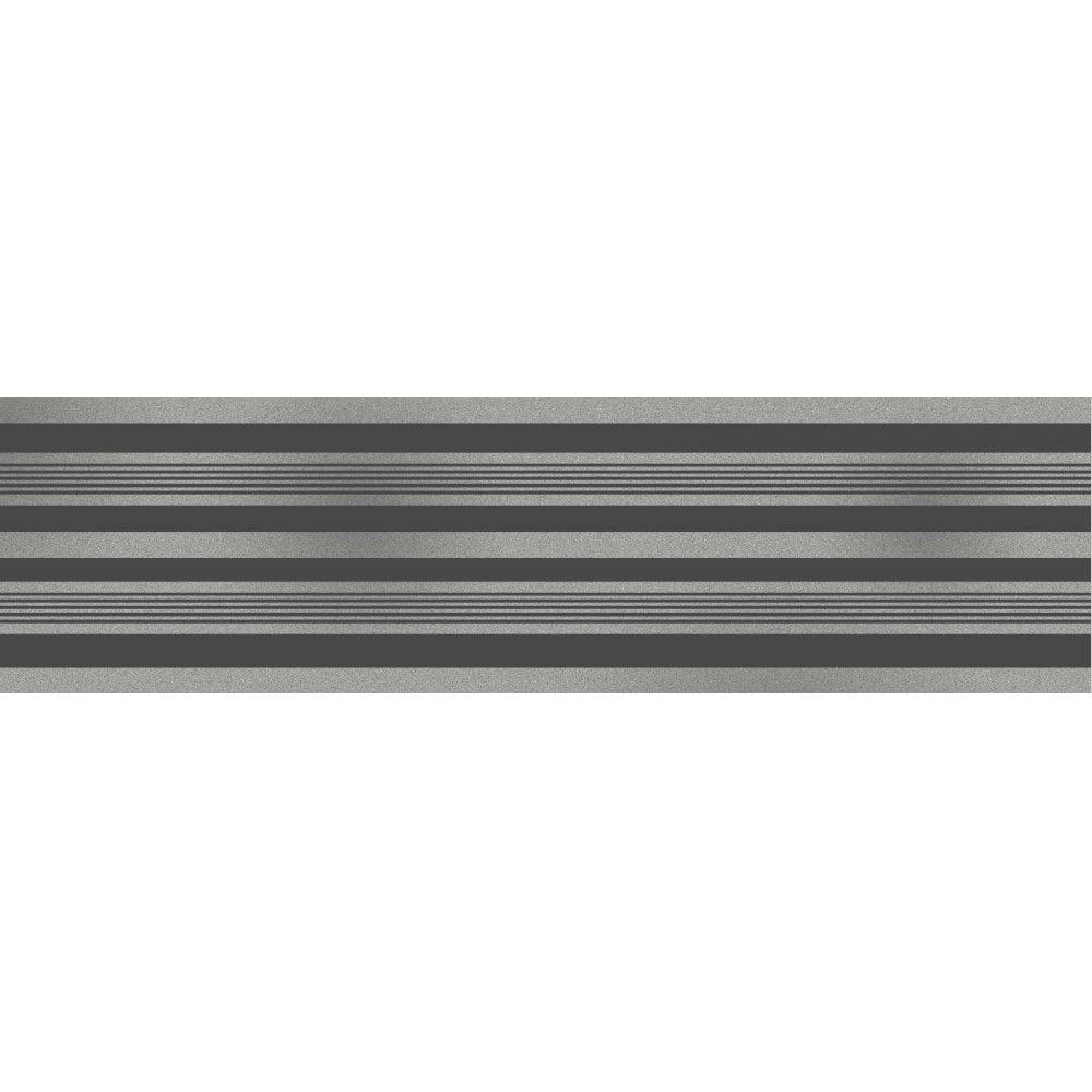 . Fine Decor Glitz Stripe Glitter Wallpaper Border Black   Silver  DLB50141
