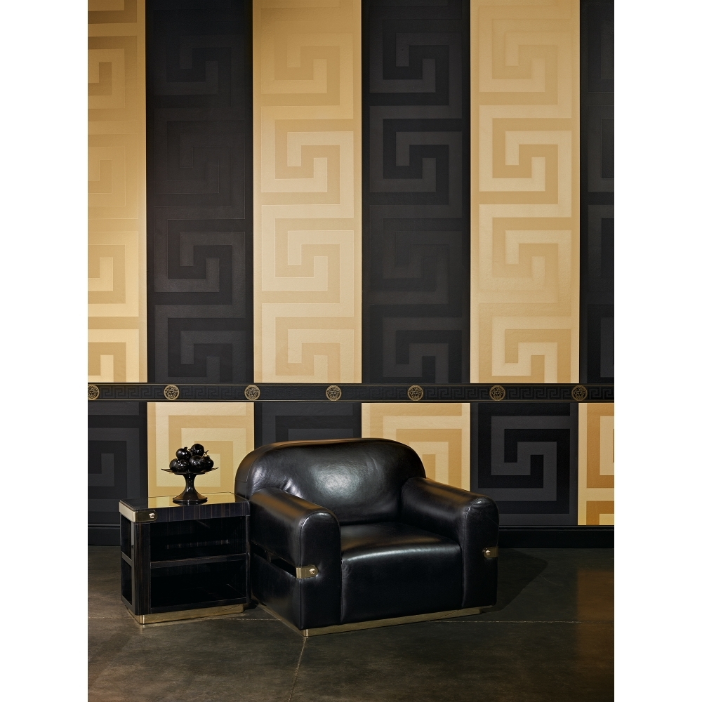 Versace Greek Key Wallpaper Border Black Gold 93522 4