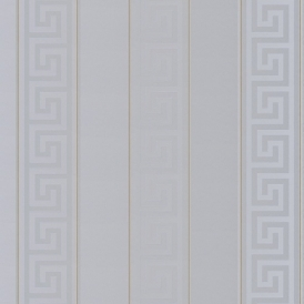 Greek Stripe Wallpaper, Silver, Gold (93524-5)