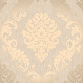 Chelsea Glitter Damask Wallpaper Taupe, Silver (H980512)