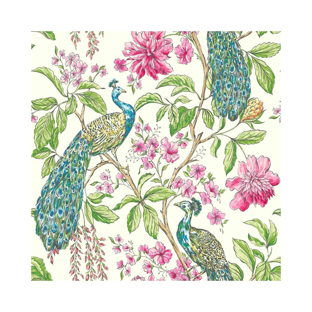 Sophie Conran Hibiscus Peacock Wallpaper White
