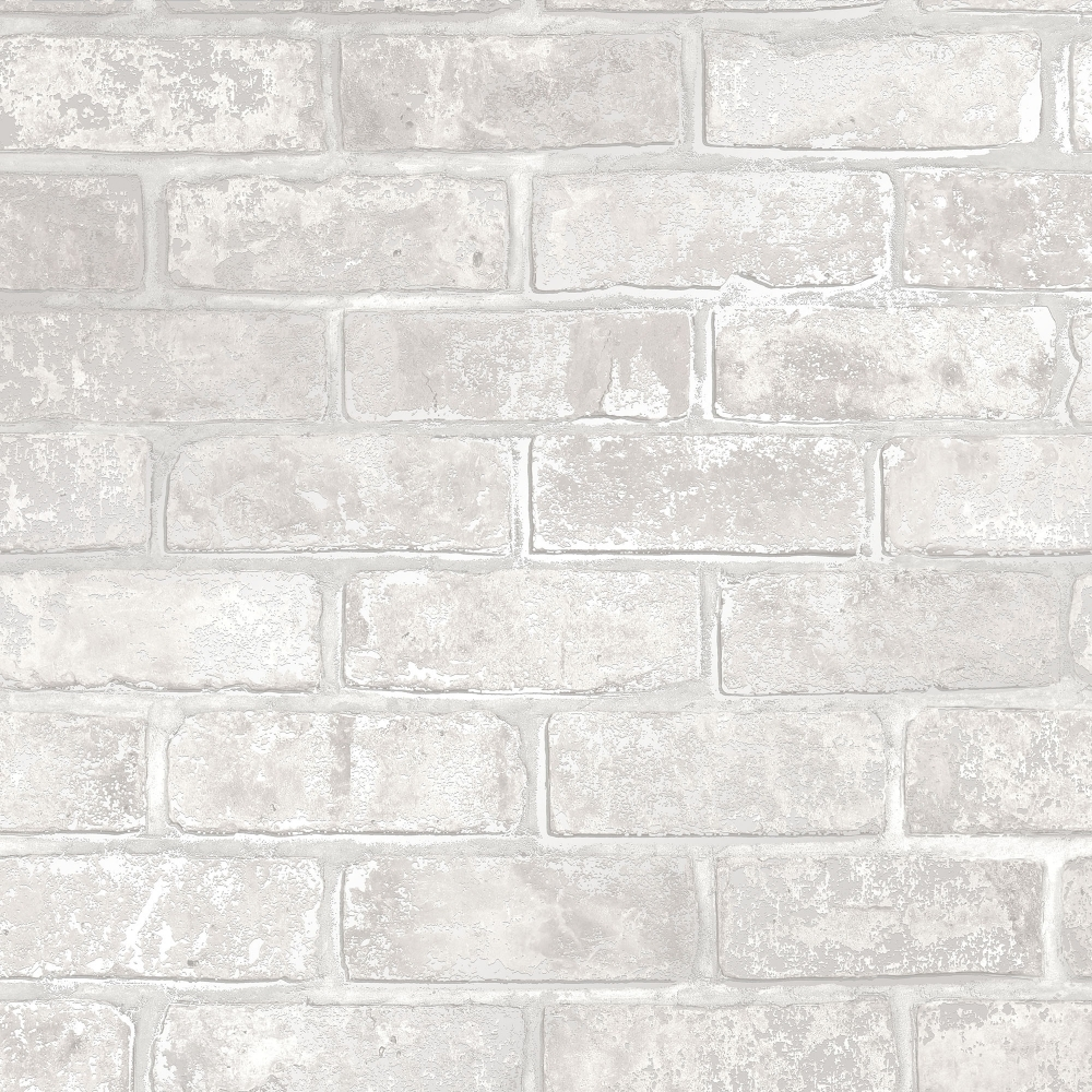 White Brick Wallpaper Kitchen: I Love Wallpaper Metallic Brick Wallpaper White (ILW980075