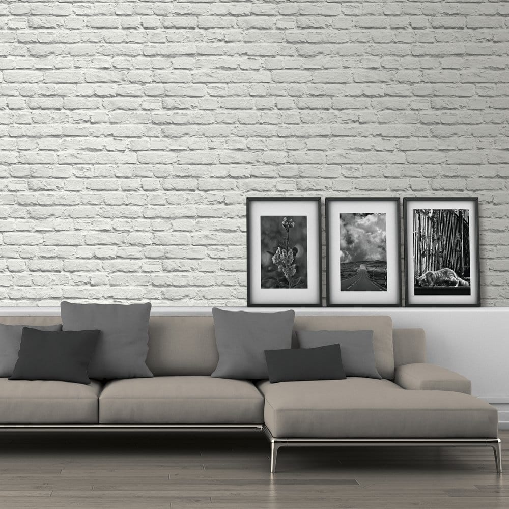 Painted White Brick Wallpaper (ILW002)