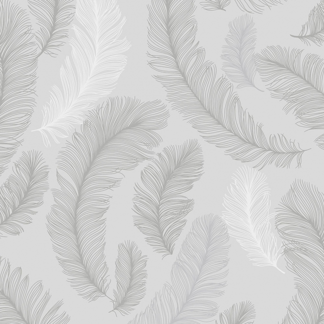Sample Plume Feather Wallpaper Grey Silver ILW3101 SAMPLE