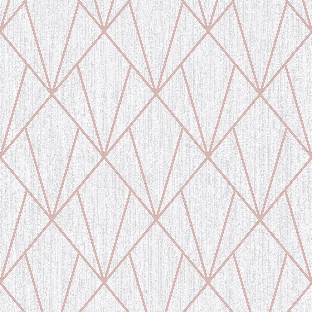 Indra Geometric Glitter Wallpaper Rose Gold