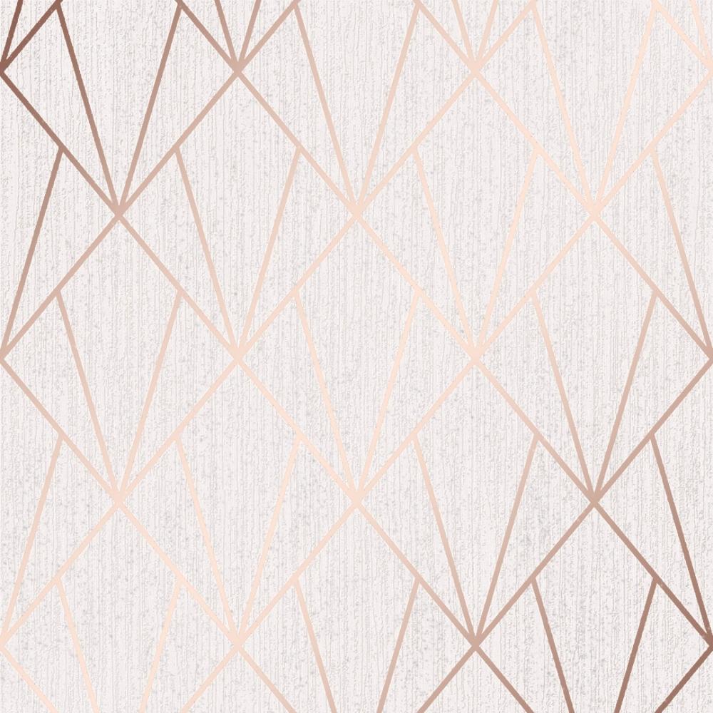 Muriva Indra Geometric Glitter Wallpaper Rose Gold 154102