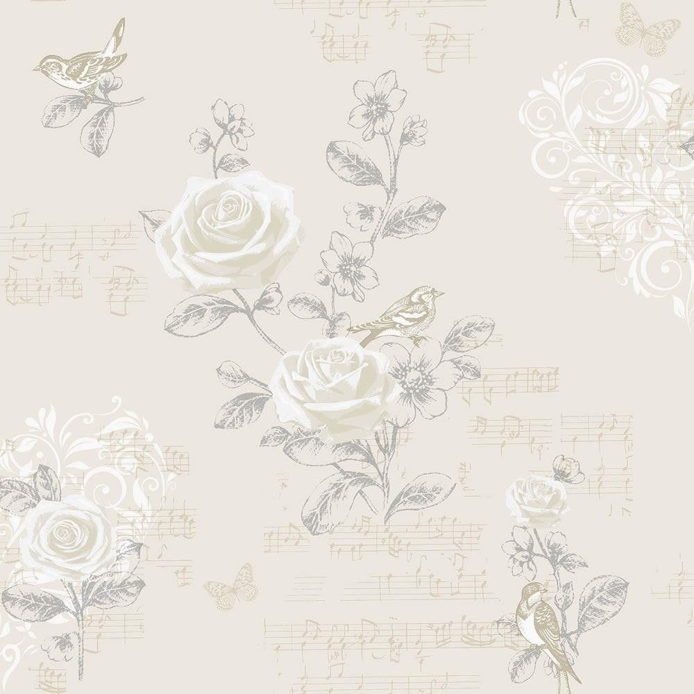 Coloroll Jenny Wren Floral Bird Wallpaper Champagne M0834