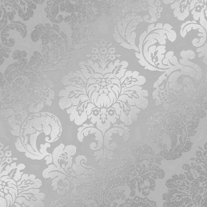 Henderson Interiors Kensington Textured Damask Speedyhang Wallpaper Silver (H980550)