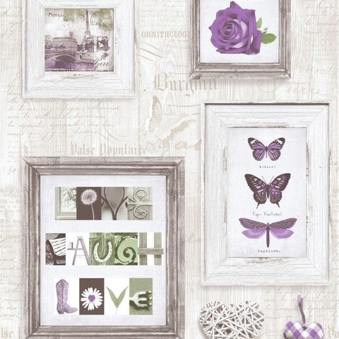 Muriva Live Laugh Love Frames Wallpaper Purple, Cream (131504 ...