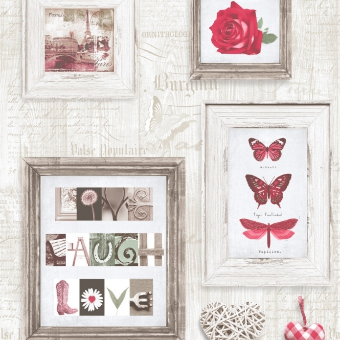 Muriva Live Laugh Love Frames Wallpaper Red, Cream (131503)
