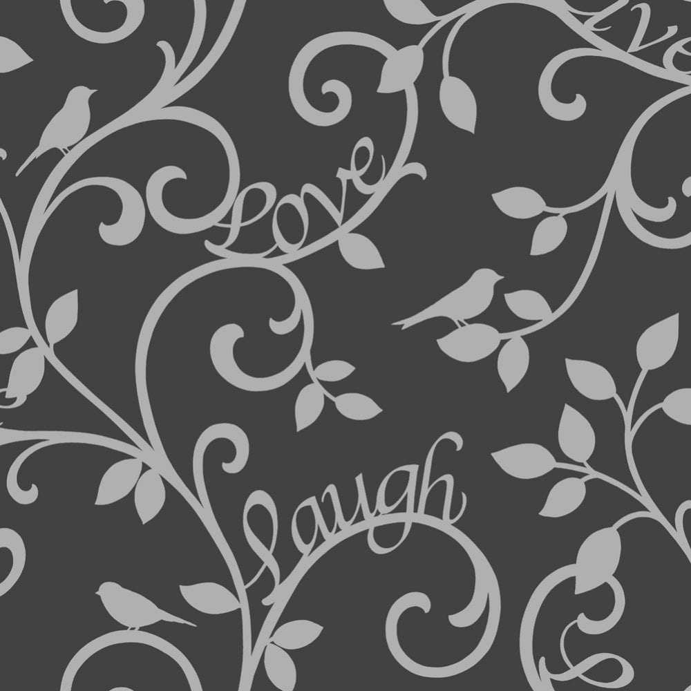 Fine Decor Live Love Laugh Scroll Wallpaper Black Silver Fd40287 Wallpaper From I Love Wallpaper Uk