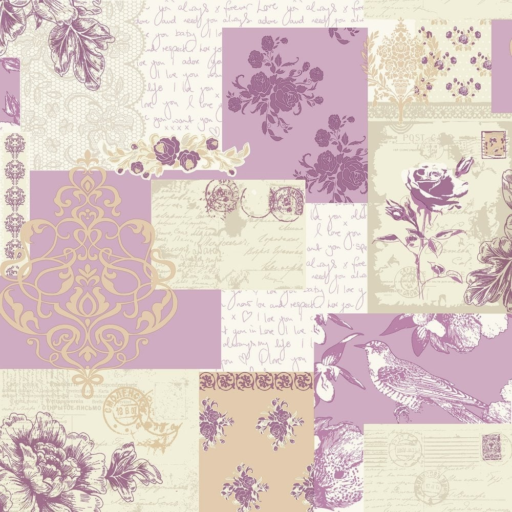 Coloroll Love Letters Wallpaper Lavender M0815 Wallpaper From