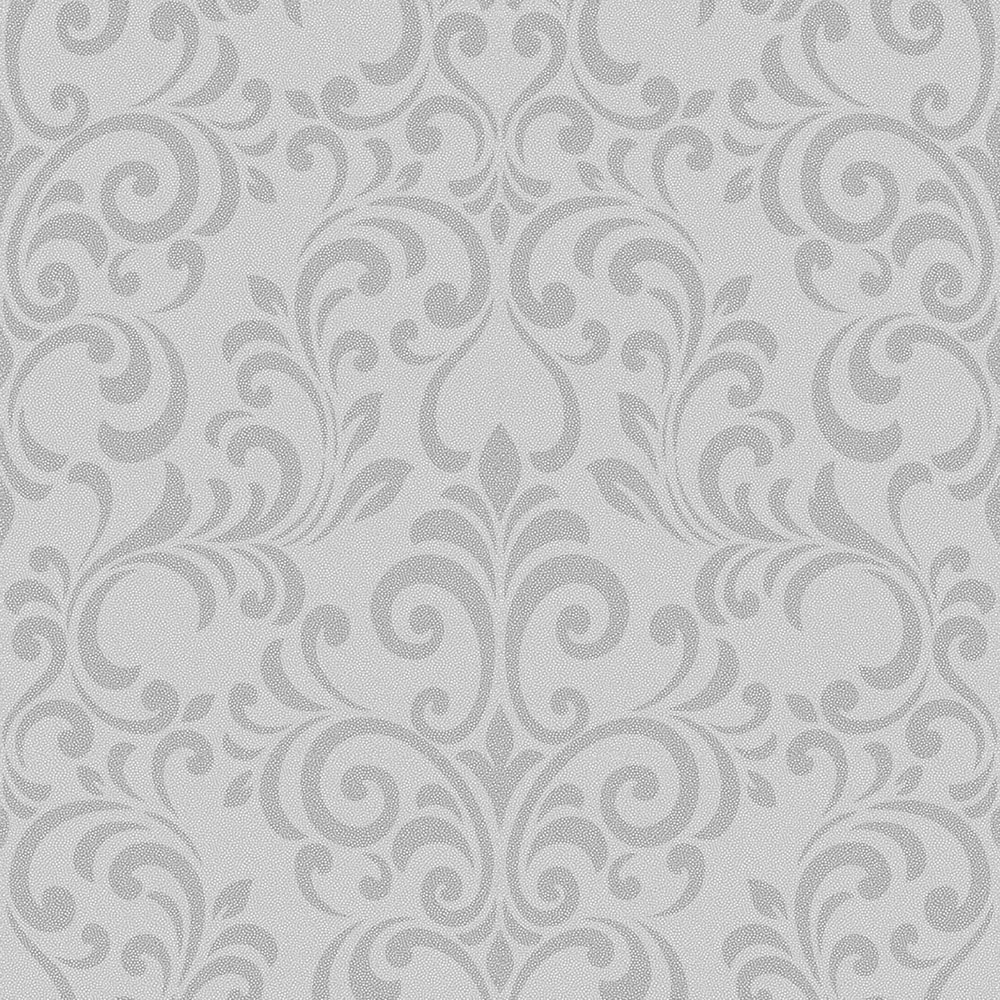Lipsy London Luxe Damask Glitter Wallpaper Silver Wallpaper