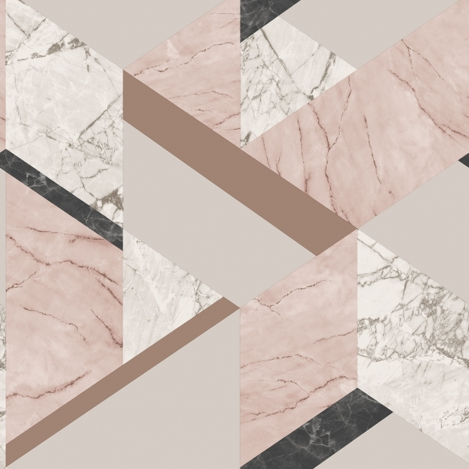Fine Decor Marblesque Geometric Wallpaper Pink (FD42303)