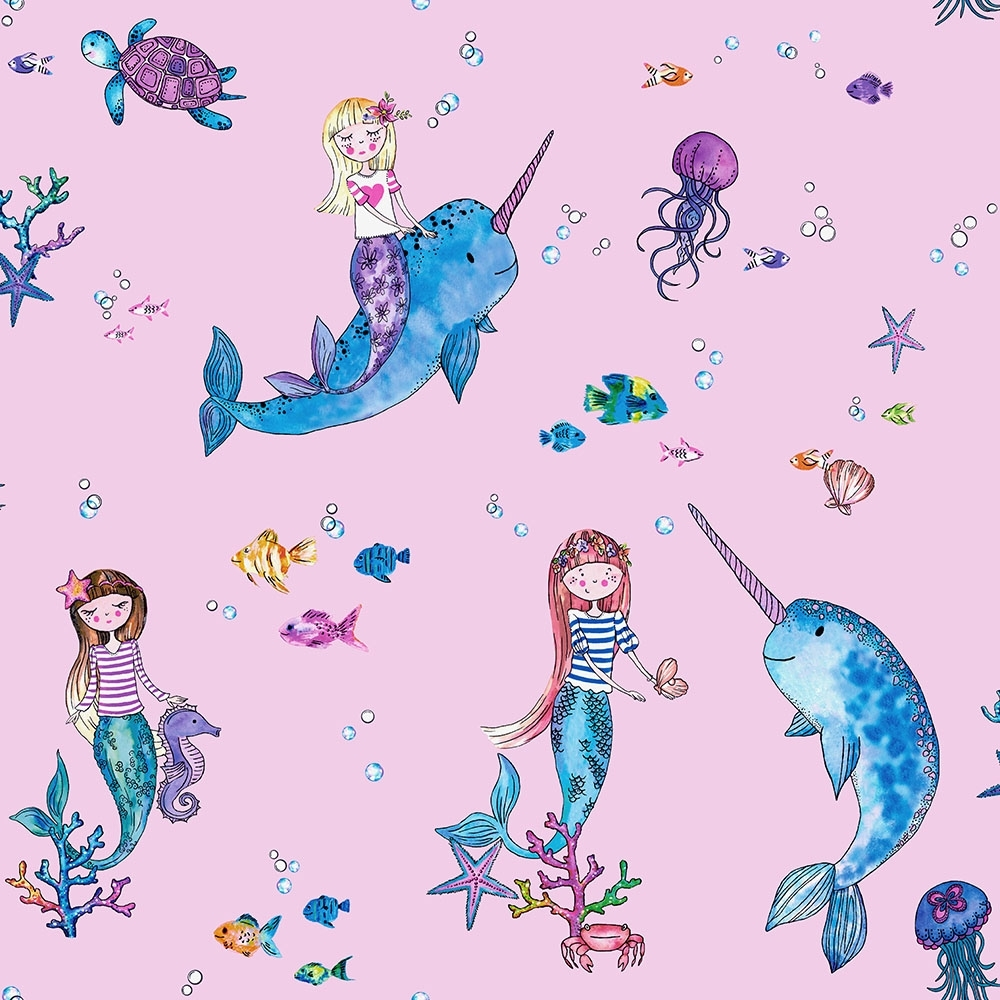 mermaid unicorn childrens glitter wallpaper pink p7830 26549 image
