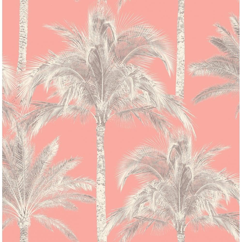 Fine Decor Miami Palm Tree Wallpaper Coral (FD40905