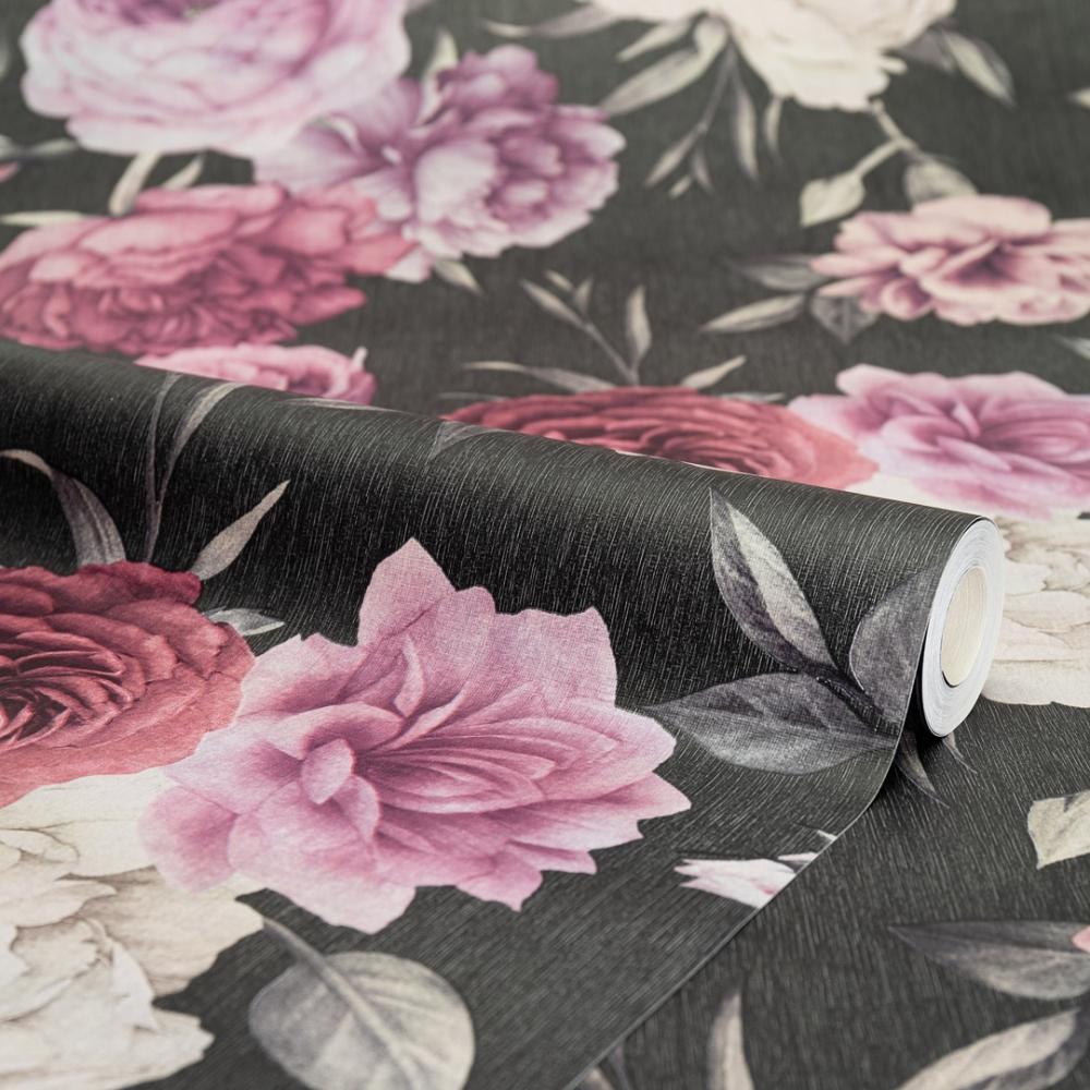 I Love Wallpaper Midnight Floral Wallpaper Black Burgundy