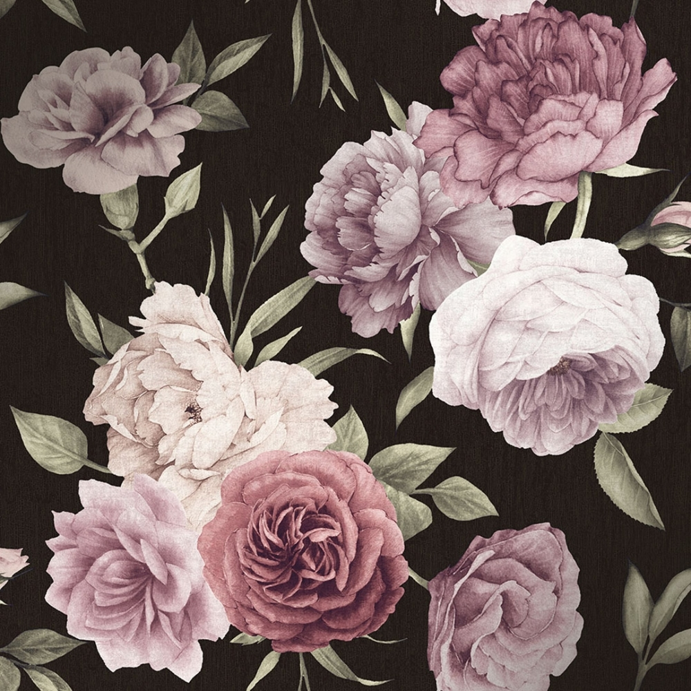 I Love Wallpaper Midnight Floral Wallpaper Black Burgundy