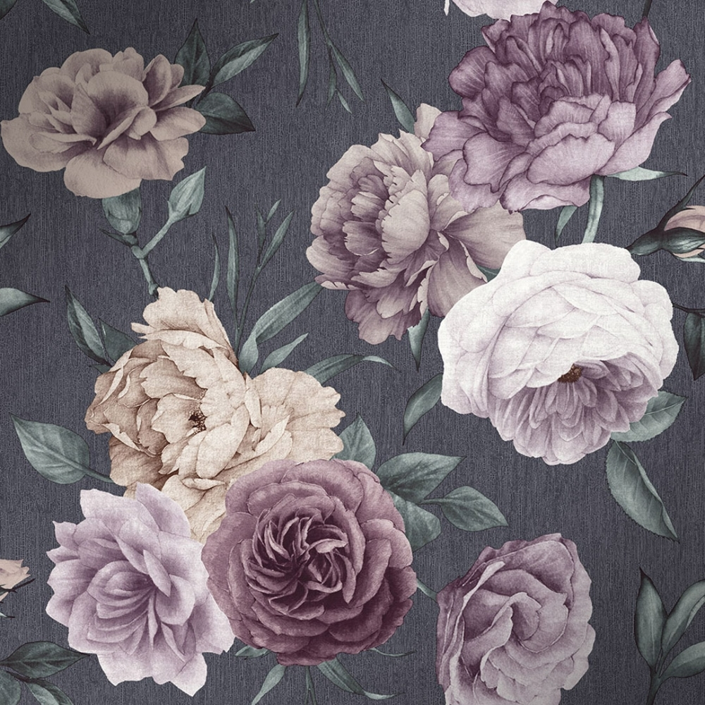 I Love Wallpaper Midnight Floral Wallpaper Slate Purple