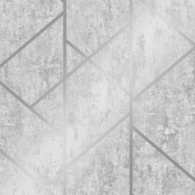 I Love Wallpaper Milan Geo Metallic Wallpaper Grey Silver