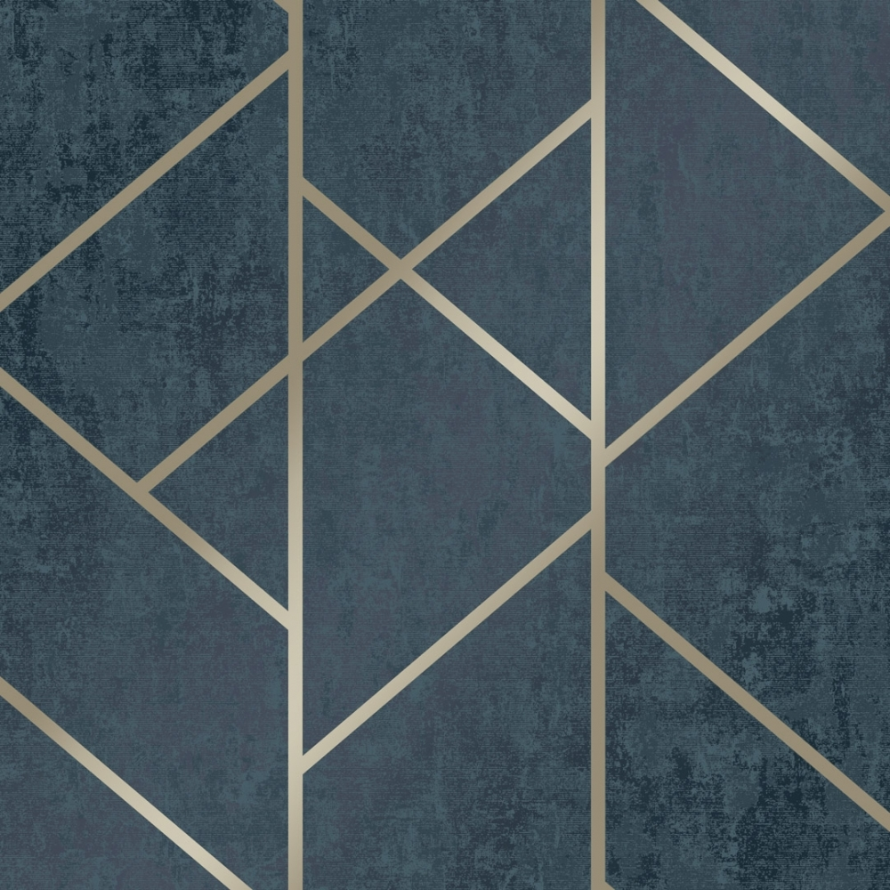 I Love Wallpaper Milan Geo Metallic Wallpaper Navy Gold
