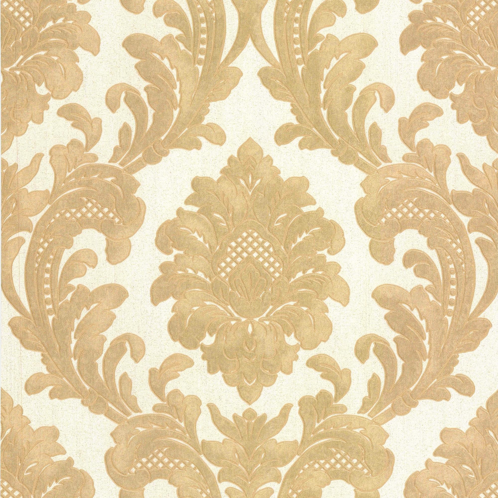 Milano 7 Damask Wallpaper Gold White M95588 Wallpaper From I
