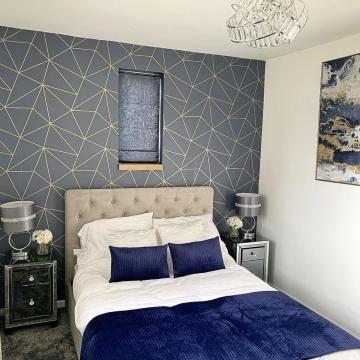 I Love Wallpaper Zara Shimmer Metallic Wallpaper Navy Gold @cherryoakmanor