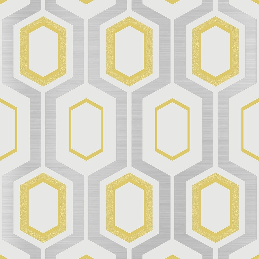 Coloroll Mortimer Geometric Wallpaper Yellow Silver White