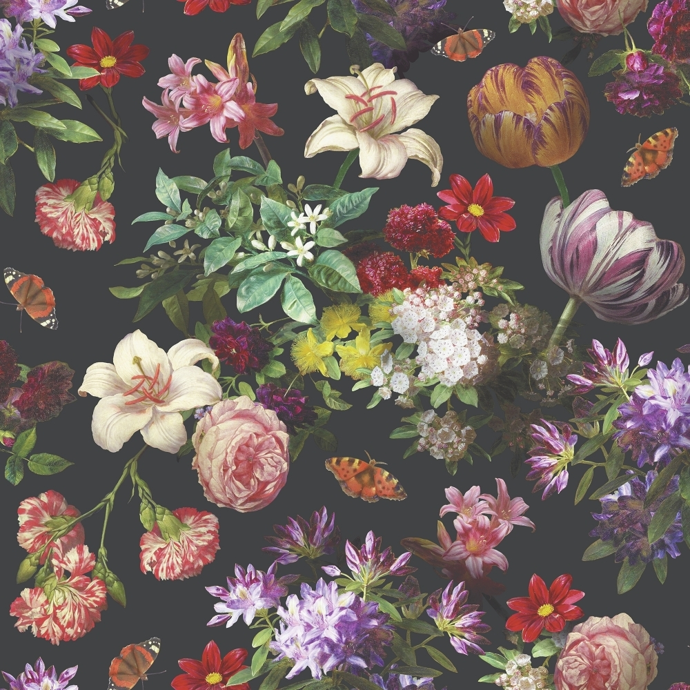 Muriva Brigitte Wallpaper Black, Multi-coloured (601553) - Wallpaper from I Love Wallpaper UK