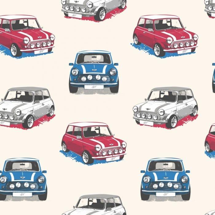 10510bca754 Muriva Mini Cooper GT Wallpaper White / Blue / Red (102520)