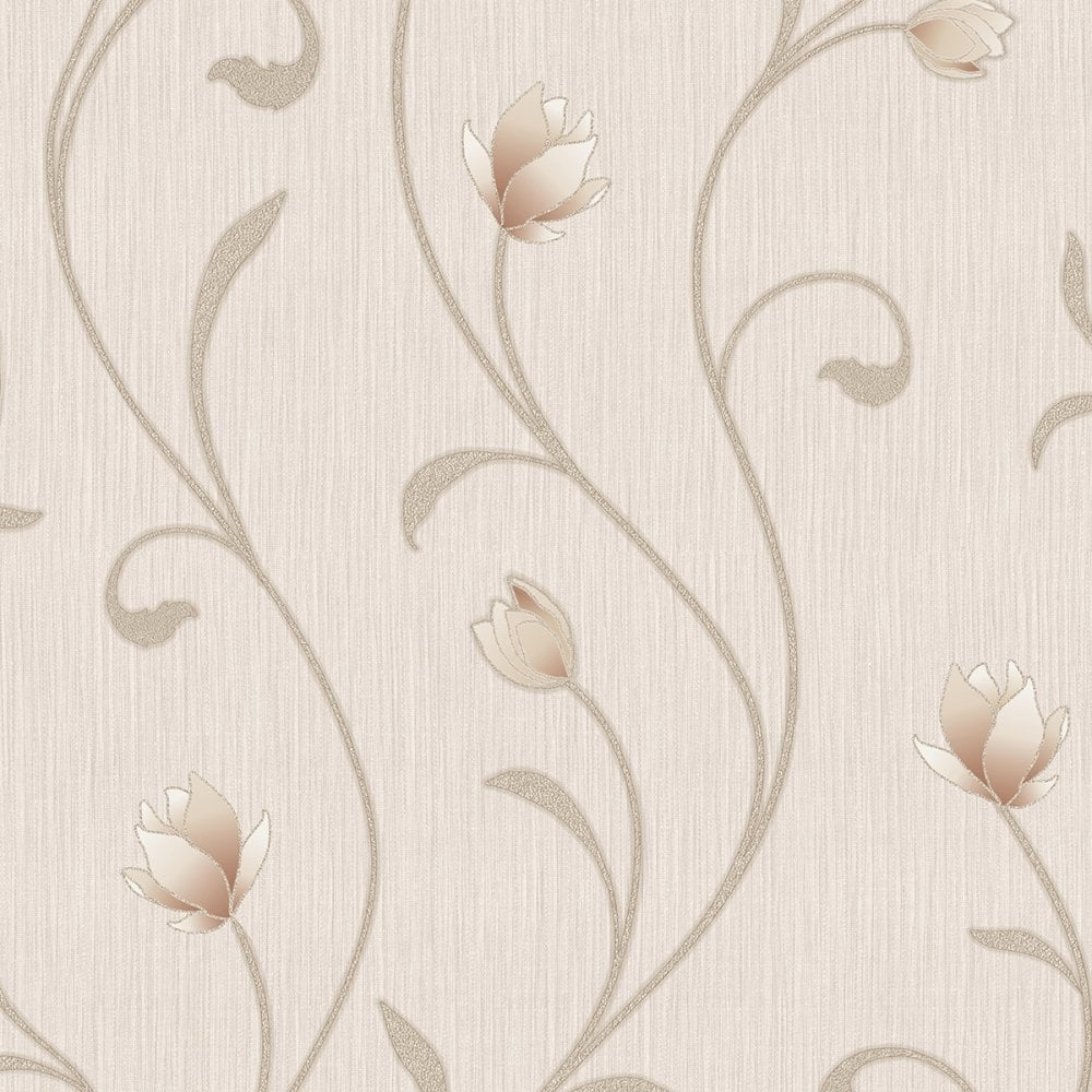 Muriva Serafina Floral Wallpaper Soft Gold 701323 Wallpaper