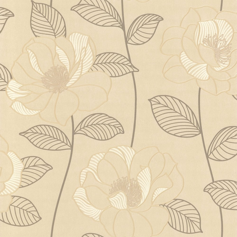 Arthouse Mystique Floral Wallpaper Cream Brown Beige 440603