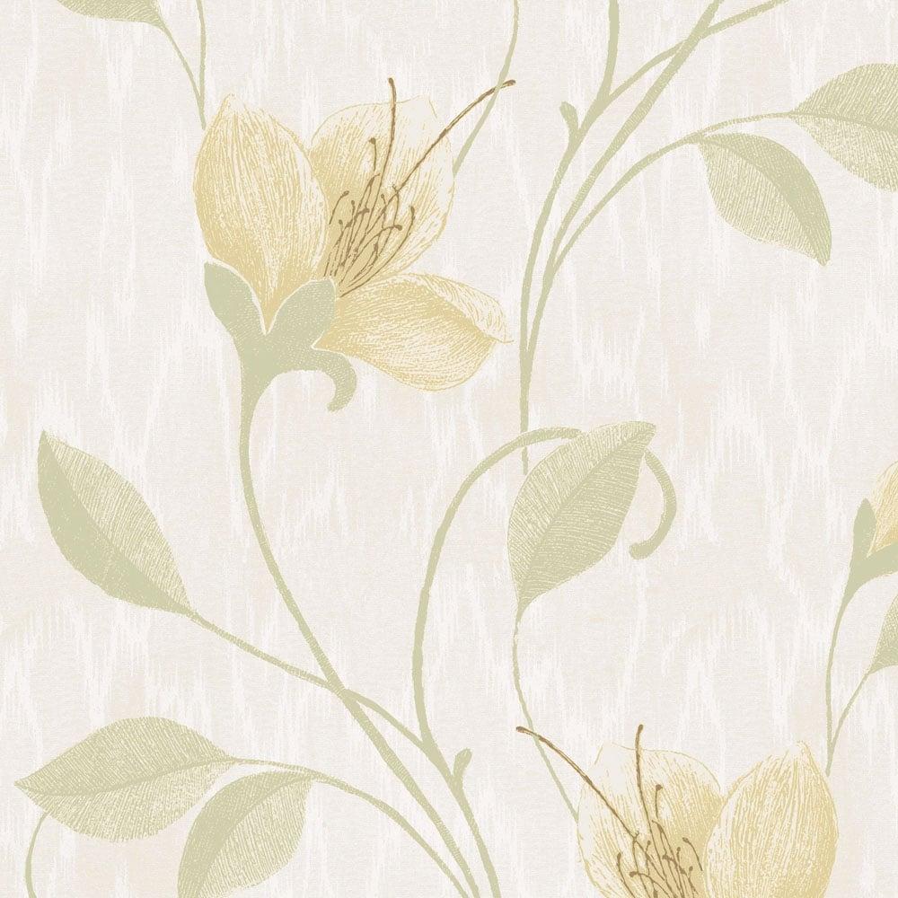 Opus Vinyl Juliet Floral Wallpaper Green 33771 Wallpaper From