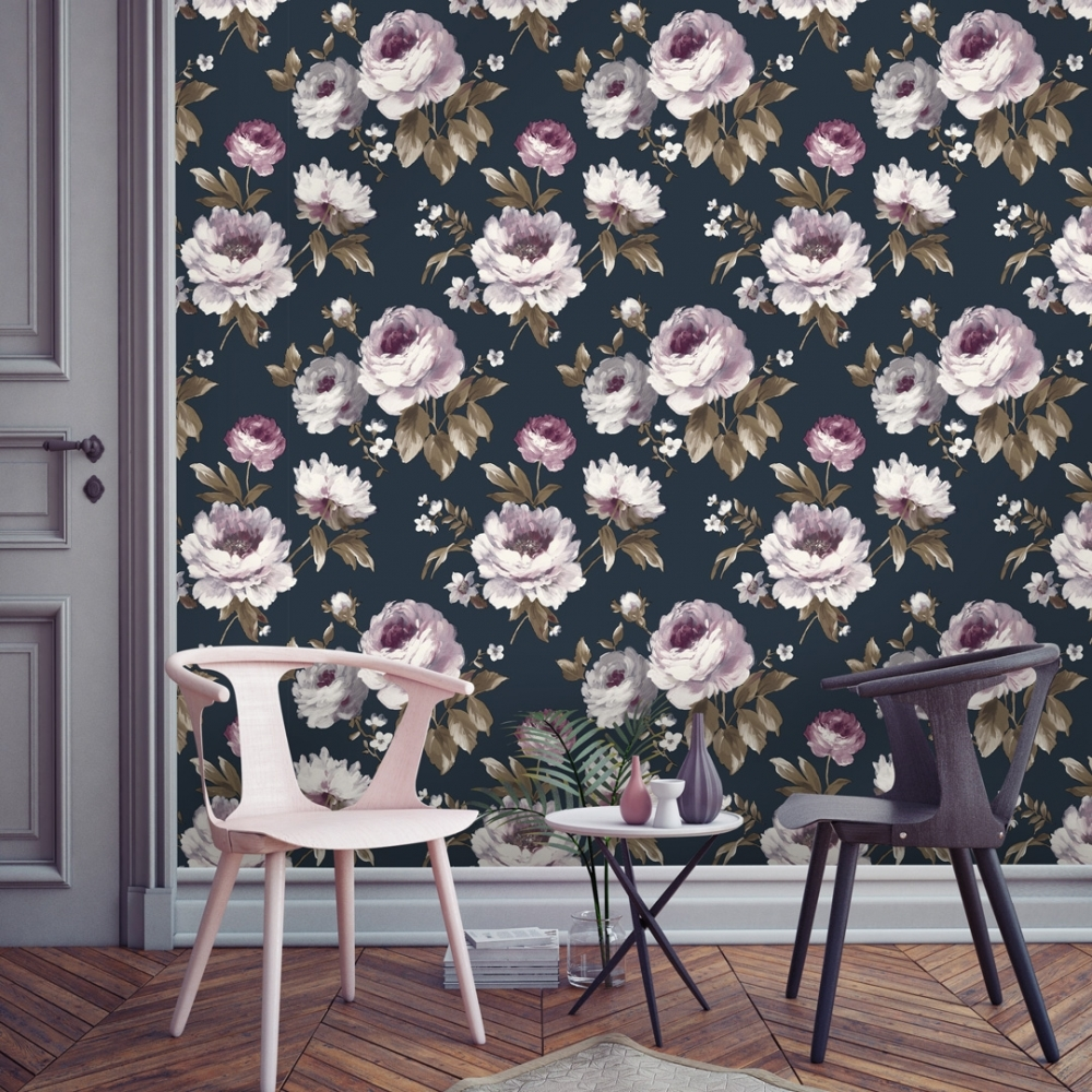 I Love Wallpaper Painterly Floral Wallpaper Navy Wallpaper From