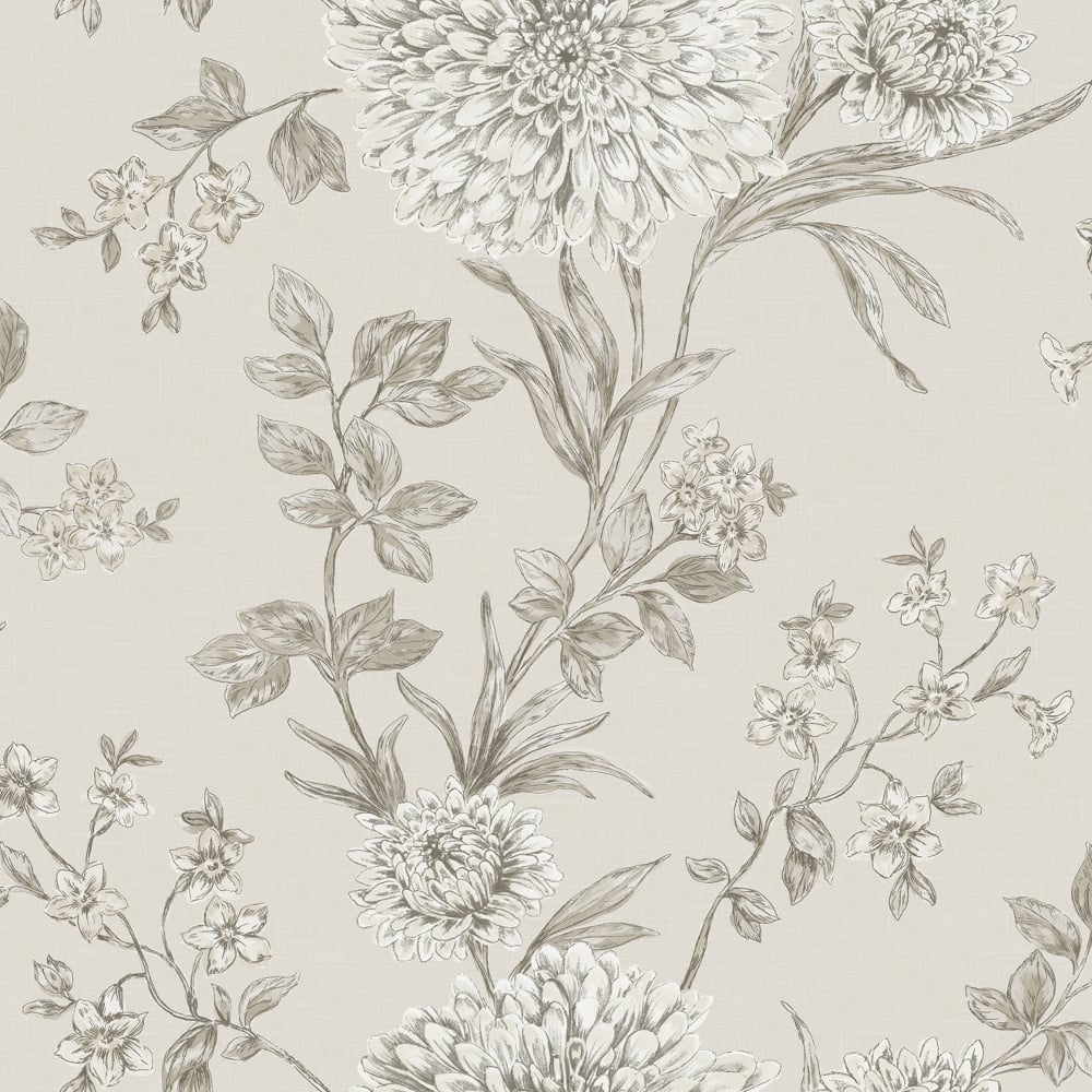 Rasch Panache Bordeaux Floral Wallpaper Beige Grey 208528