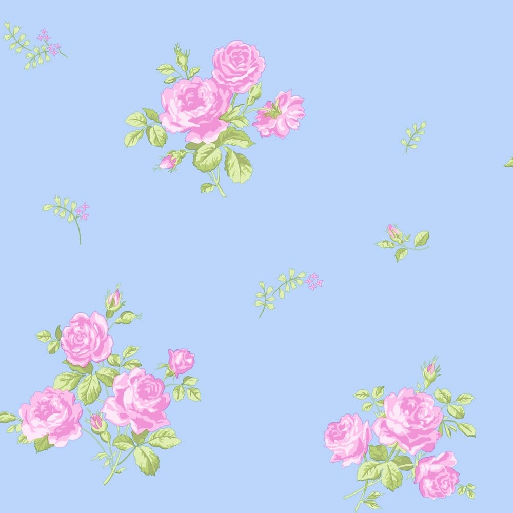 Coloroll Pippa Floral Wallpaper Sky Blue Pink M0726 Wallpaper