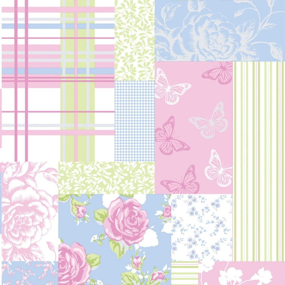 Coloroll Pollyanna Patchwork Floral Wallpaper Green Blue Pink