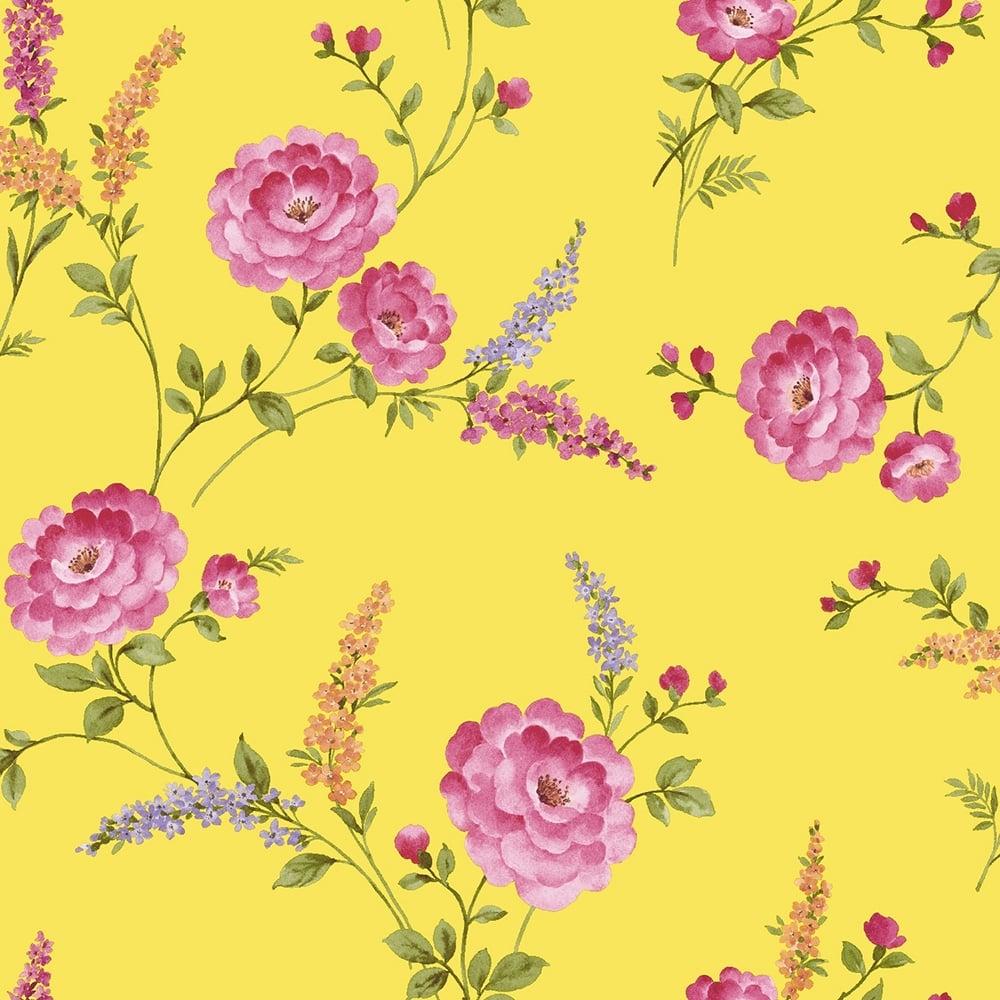 Sophie Conran Posie Designer Wallpaper Buttercup Yellow 950807