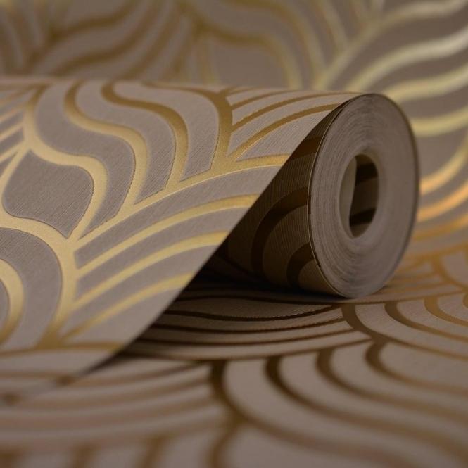 Muriva Precious Silks Art Deco Wallpaper Beige Gold