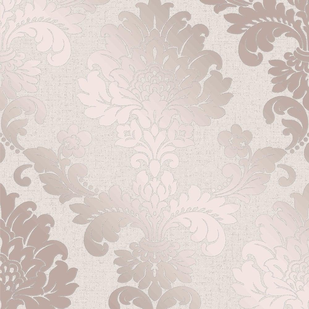 Fine Decor Quartz Damask Wallpaper Rose Gold Fd42204 Wallpaper