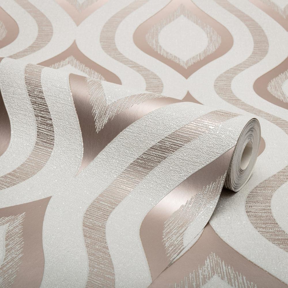 Rose Gold Grey Geometric WallpaperMetallicTrellisFine Decor FD42604